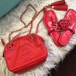 Tory Burch red chain bag